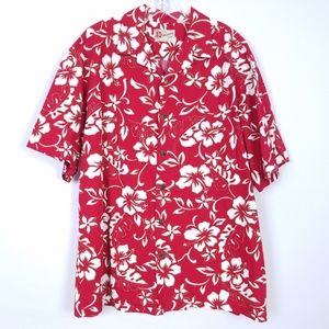 HILO HATTIE Hawaiian Button Front Shirt Red Floral